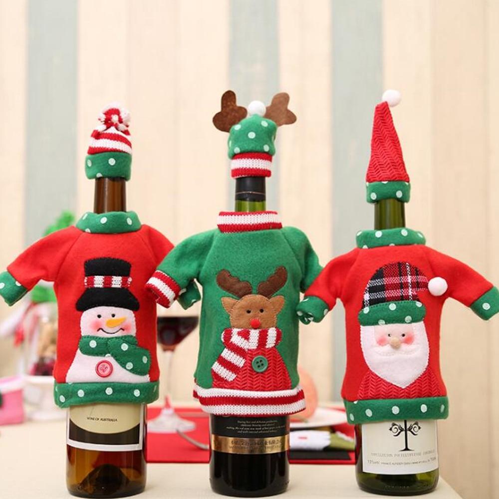 20 Stks Kerst Wijnfles Decor Set Kerstman Sneeuwpop Herten Fles Cover Kleding Voor Kerst Tafel Decoratie 40% Off