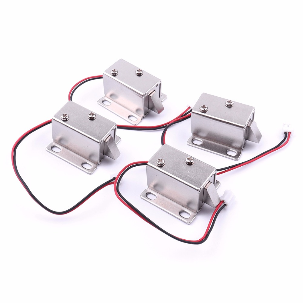 4PCS DC12V/350MA Cabinet Door Electric Lock Assembly Solenoid High Quality Ultra-Compact Locks 12v cabinet case electric solenoid magnetic lock micro safe cabinet lock storage cabinets electronic lock file cabinet locks