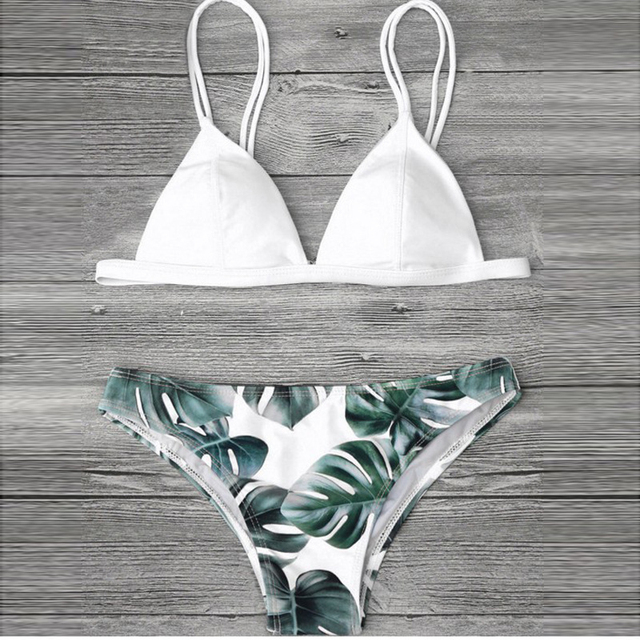 44dd6577753 Aliexpress.com : Buy Sexy Palm Leaf Bikini Set 2018 Black Padded Triangle  Bikinis Women Green Leaves Swimsuit White Swimwear Yellow Bathing Suit from  ...