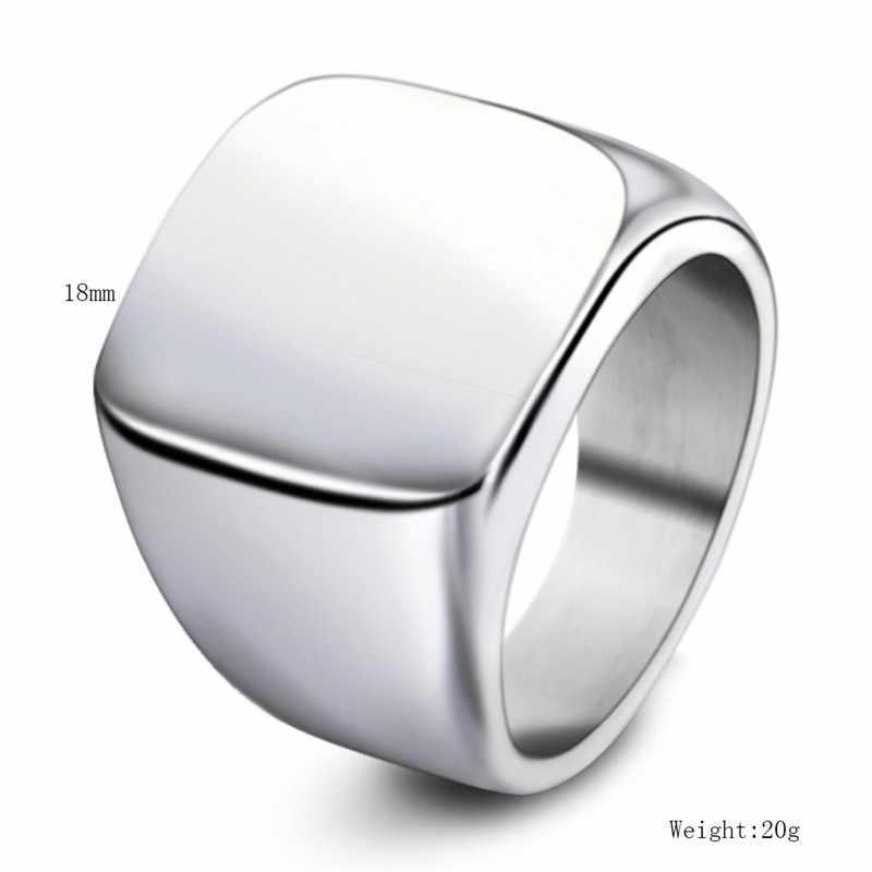 316L สแตนเลส Blank Plain แหวนคุณภาพสูงขัด Signet Solid Biker แหวนผู้ชายแฟชั่นเครื่องประดับ