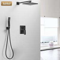 XOXO Brass Black Shower Set Bathroom Faucet Ceiling Or Wall Shower Mounted Shower Arm Diverter Mixer Handheld Set 33331