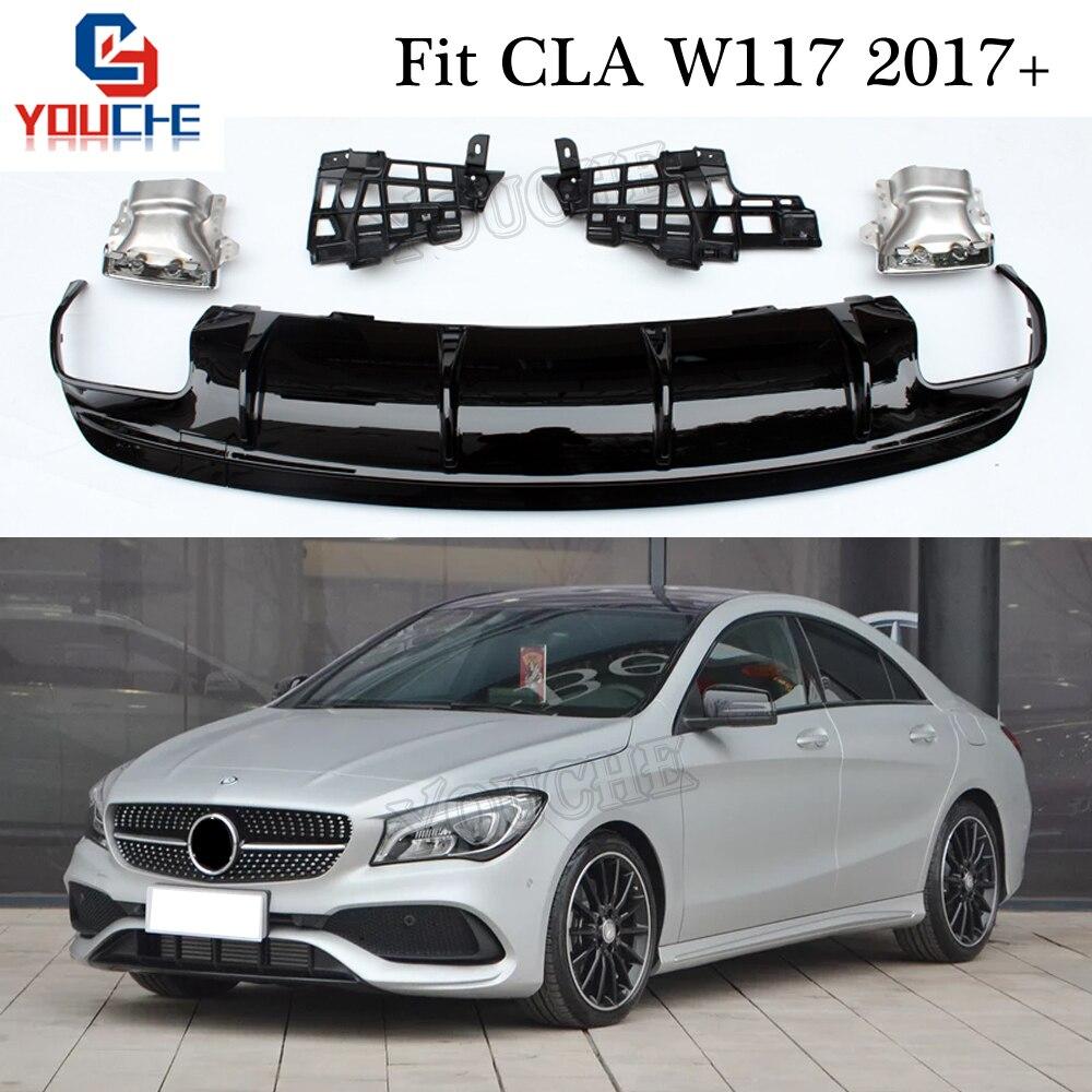 W117 Rear Bumper Diffuser & Exhaust for Mercedes CLA Class CLA180 CLA200 CLA250 CLA45 AMG Package Sport Edition 2017 +