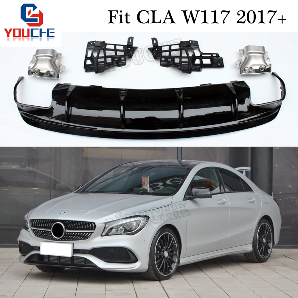 W117 Rear Bumper Diffuser & Exhaust for Mercedes CLA Class CLA180 CLA200 CLA250 CLA45 AMG Package Sport Edition 2017 +-in Bumpers from Automobiles & Motorcycles    1