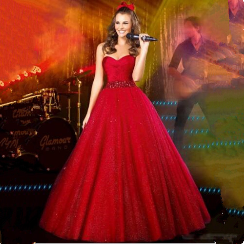 Dazzling Sequined Beading Prom Dress Classic Prom Gown with Crystal ...