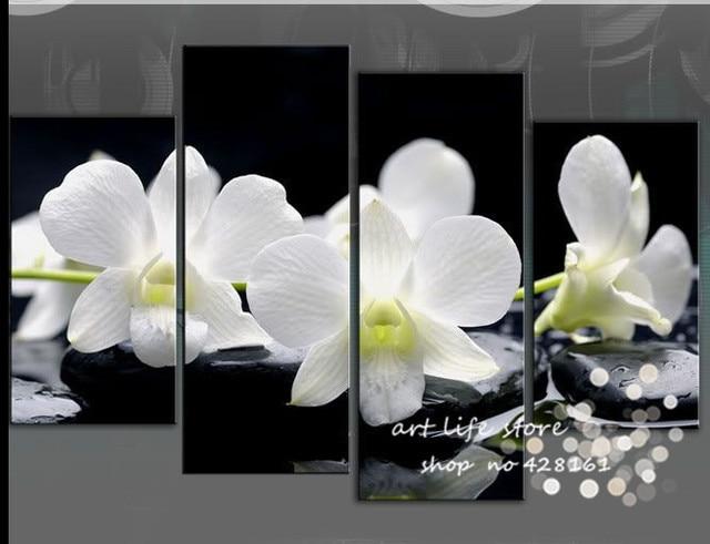 4 Panel Wall Art Bilder Botanischen Rot Feng Shui Weisse Orchidee Lbild Auf Leinwand Das Bild