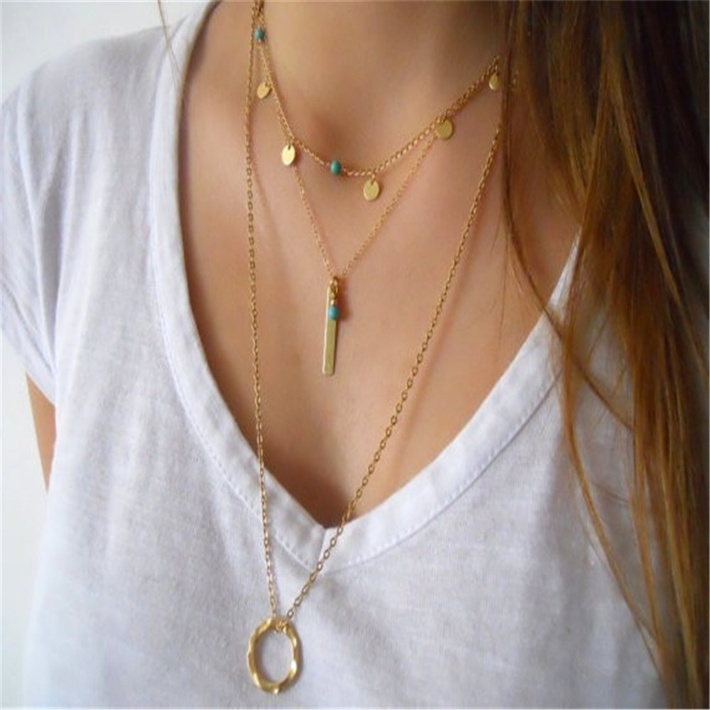 Boho Multilayer sequins metal bar necklaces & pendants Gold chain Circle Chocker choker necklace Maxi fashion jewelry