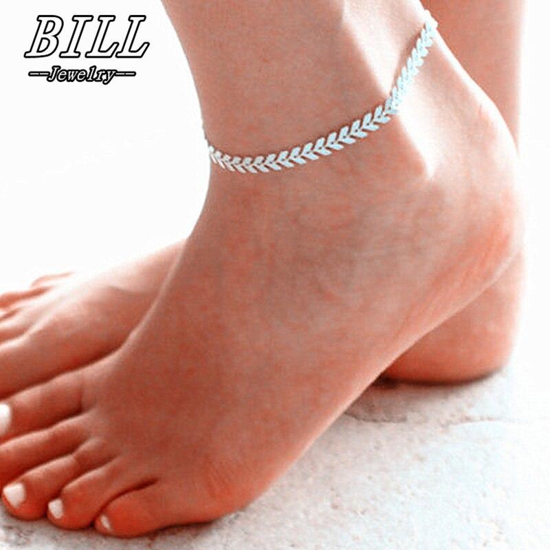 Браслет на ногу SL016 Женский, старинное искусственное украшение, Пляжная цепочка без ног, Минималистичная бижутерия в богемном стиле, лето 2018