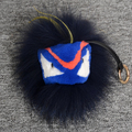 Real fur monster keychain charm fox pompom ball karlito key chain Shoulders bag keyring Car Accessories