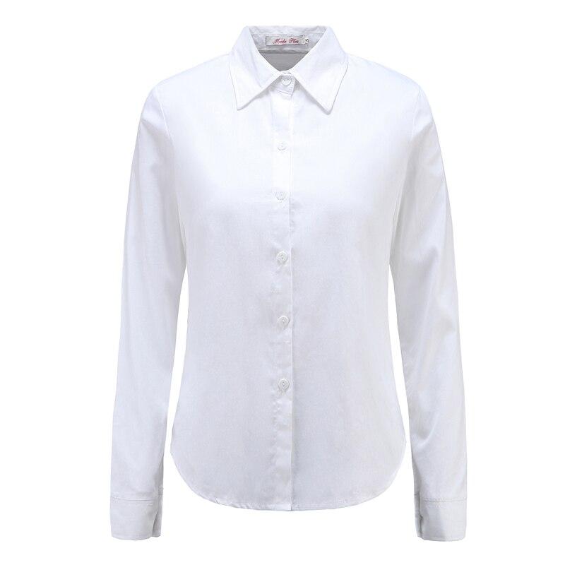 Moda Jihan nuevas mujeres blusas y camisas abajo Collar manga larga camisas femeninas 100% algodón suave ropa femenina Tops blusas