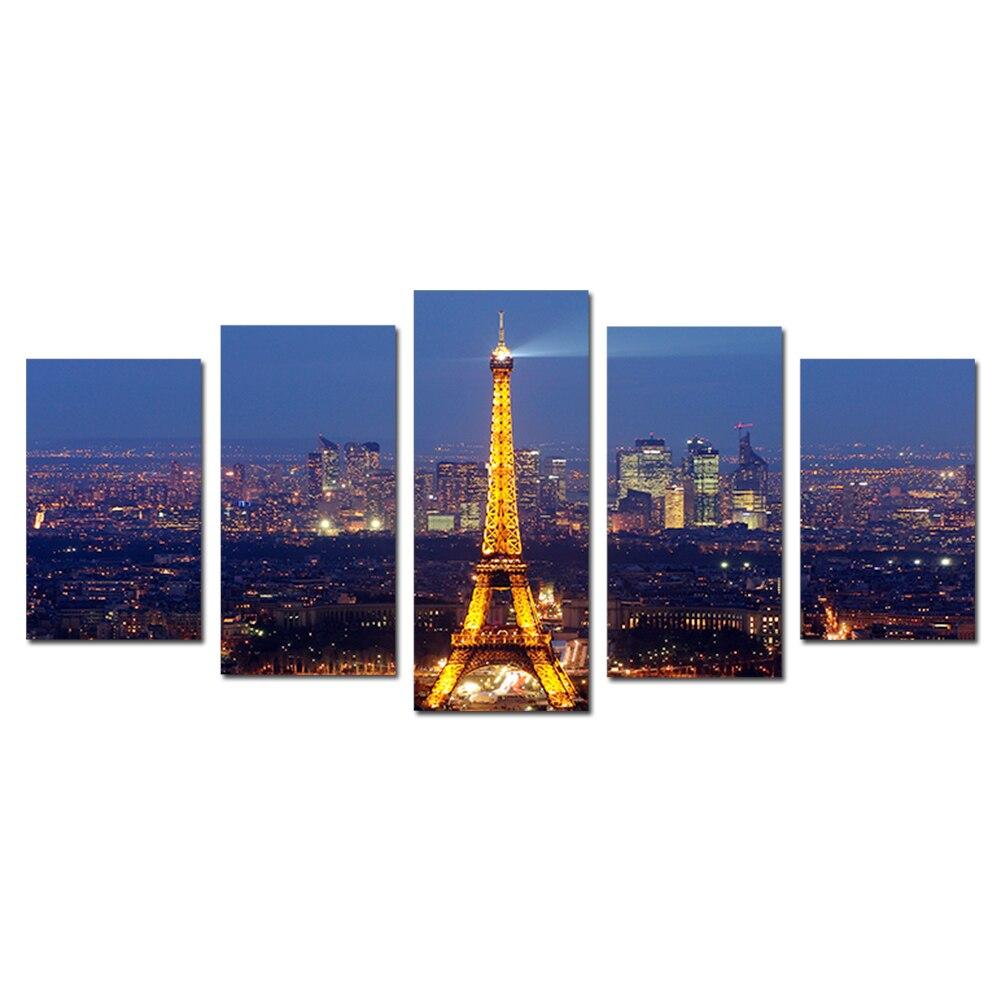 ᗐNo enmarcado 5 unids/set moderna ciudad de París Torre Eiffel ...