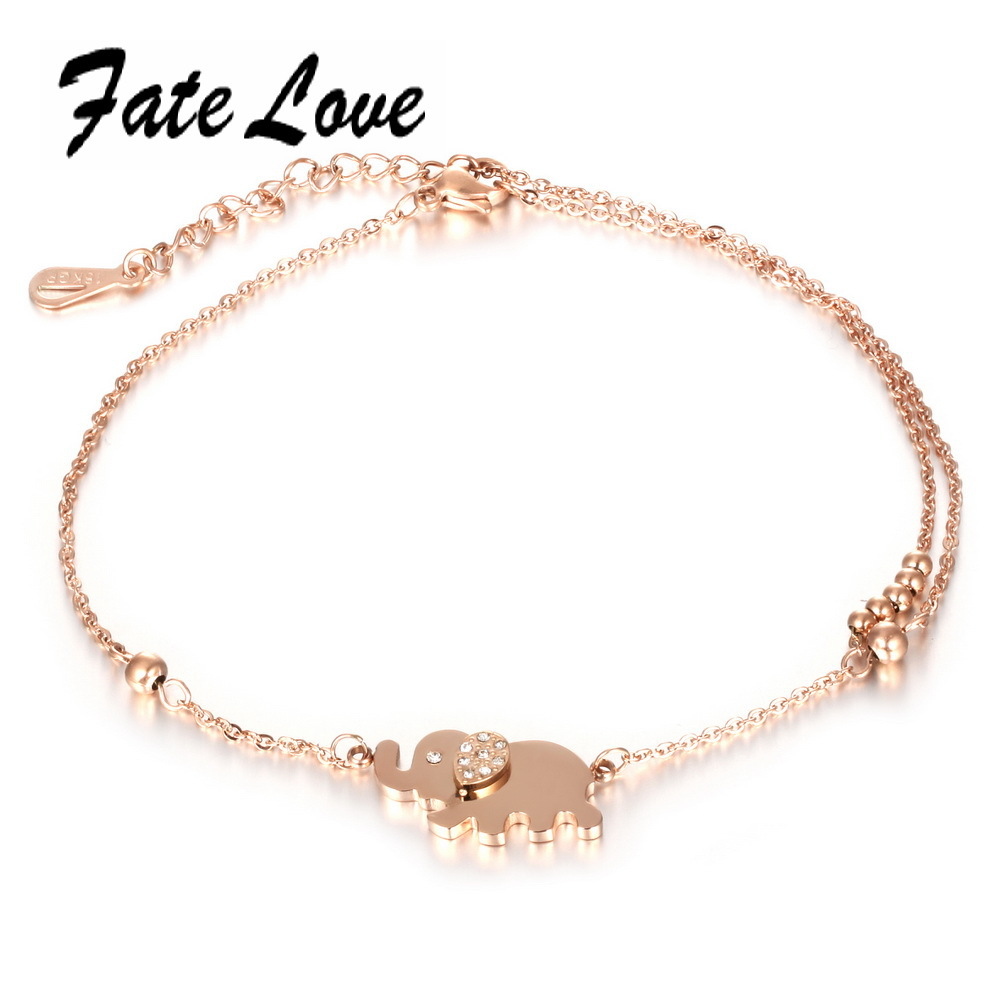Fate Love Cute Animal Barefoot Sandal Elephant Charm Anklets Bracelet Rose Gold Color Foot Anklet Chain Woman Jewelry Gift FL022