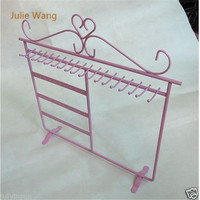 Julie Wang 1PCS Fashion Pink Iron 30Holes Jewelry Display Charm Earring Necklace Showing Shelf Stand Holder