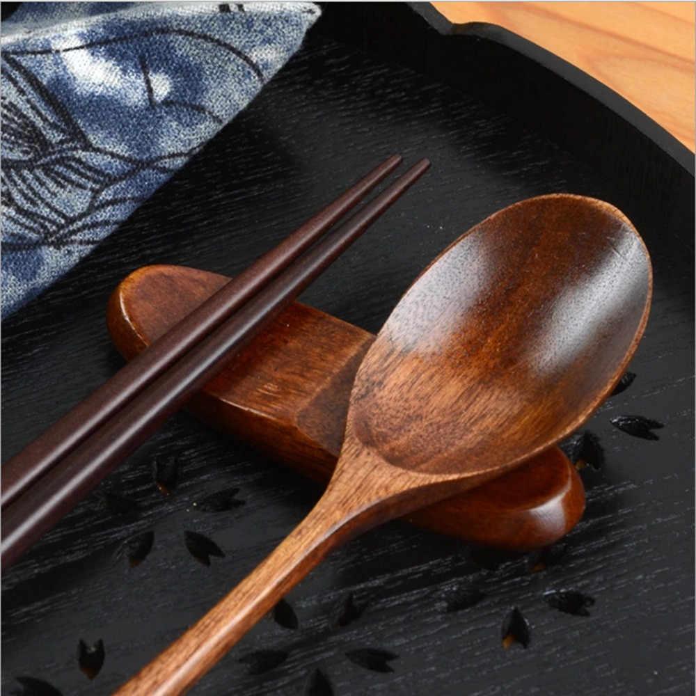 Conjuntos de talheres de madeira utensílios de mesa portátil japonês vintage pauzinhos de madeira colher utensílios de mesa 2 pçs conjunto presente de viagem louça terno