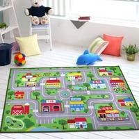 yazi 9PCS Cartoon Puzzle Mats Transport Line Design EVA Foam Children Play Mat Large Floor Carpet Area Rug Home Decor