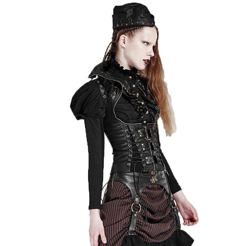 Gilets Haut Pu Femmes Cuir Black Wth D'hiver Réglable Pour Les Col Steampunk Femelle Vestes Gilet Bretelles 2017 0n5qYZpw