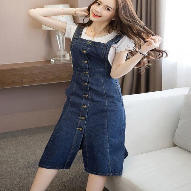 48764242632ad Plus Size Ladies Elegant Vintage Blue Denim Pocket Metal Button Suspender  Skirt Off Shoulder Slash Neck Vestidos Jean Overalls