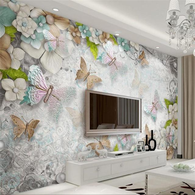 Beibehang Wallpaper Kustom Cantik Mediterania Erfly Mutiara Bunga Ruang Tamu Tv Latar Belakang Papel