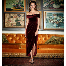 Verngo 2019 Red Evening Dress In Velour Vintage Gown Boat Neck Formal Custom Made Party Robe De Soiree