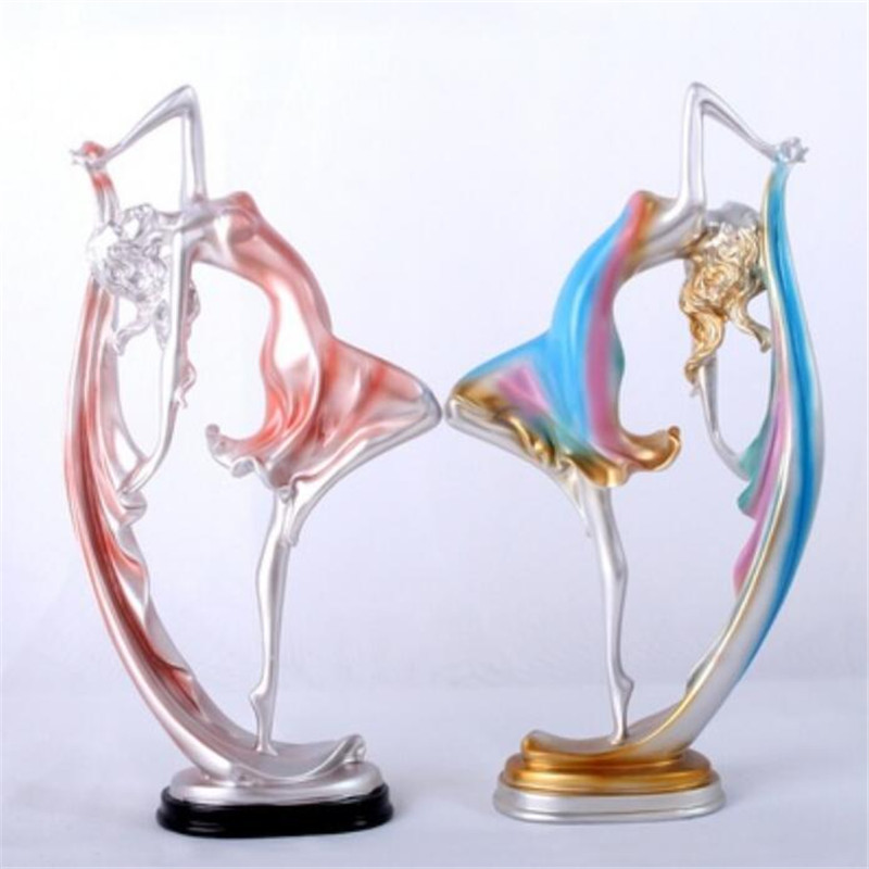 1 pièces résine gracieuse Ballet danse fille Sculpture ballerine Statue Figurine danseur ornements maison salon décor