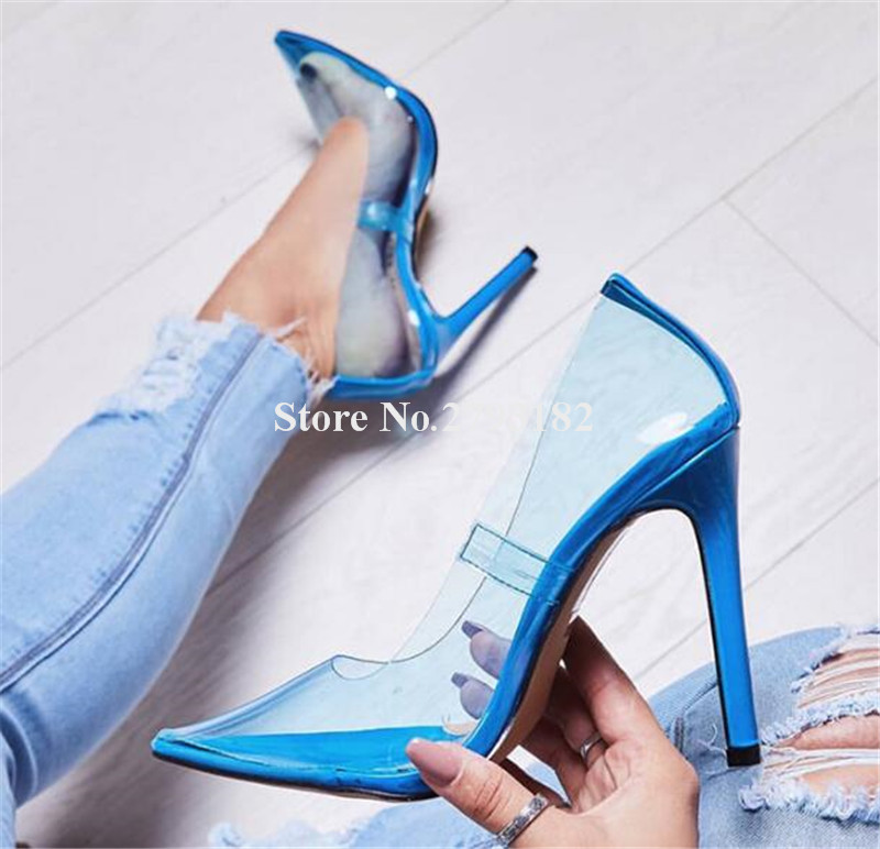 New Fashion Women Pointed Toe PVC Slip-on Thin Heel Pumps Blue Pink Orange Candy Color Transparent High Heels Dress Club Shoes sexy pointed toe new fashion transparent pvc fringes shoes closed toe high heels women pumps mixed color weding party sandals