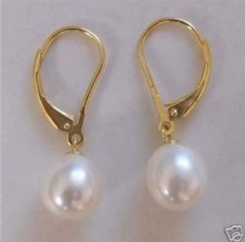 PERFECT ROUND WHITE 9-10 MM AAA SOUTH SEA PEARL DANGLE EARRING 14k/20 YELLOW GOLDPERFECT ROUND WHITE 9-10 MM AAA SOUTH SEA PEARL DANGLE EARRING 14k/20 YELLOW GOLD