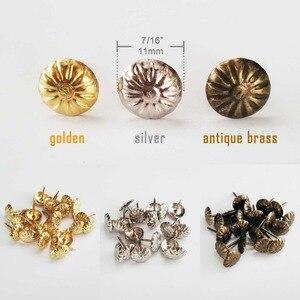 100x Golden Silver Antique Brass Upholstery Nail Jewelry Gift Wine Case Box Sofa Decorative Tack Stud Pushpin Doornail 11x16mm(China)