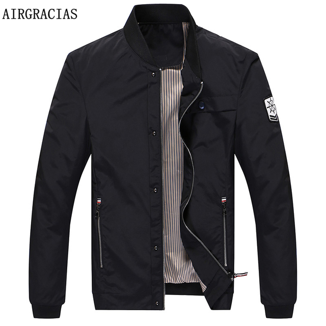 AIRGRACIAS 2017 Spring Fashion Brand Jacket Men Clothes High Quality 100% Polyester Casual Mens Jackets Coats 3 Colors Available