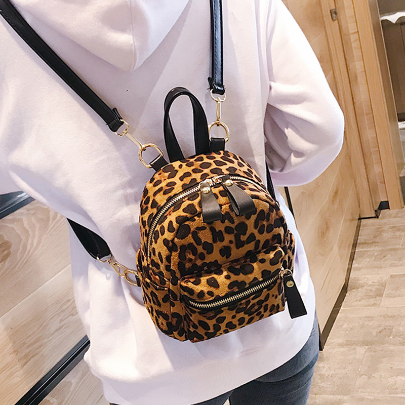 Leopard Print Small Backpacks For Women 2018 Winter Bag Mini cute Backpack  Kids Fashion Back Pack Travel Chain Plush Bags-in Backpacks from Luggage    Bags ... 1e542faa22de9