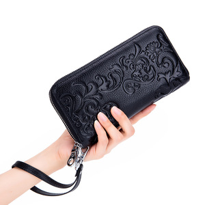 Image 3 - 2020 New Style Womens Wallet Double Zipper Purse Head Cowhide Leather RFID Anti Radio Frequency Scanning Wristband Clutch Bag