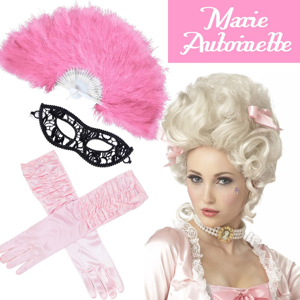 Ladies 18th Century Marie Antoinette Masked Ball Fancy Dress Accessories Versailles French Queen Wig Feather Fan Venetian Masks