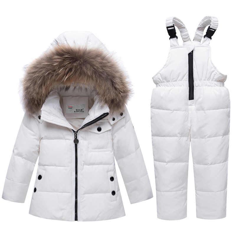 Детские лыжные комплекты на утином пуху с меховым капюшоном для мальчиков и девочек Теплый детский зимний комбинезон, зимняя верхняя одежда, пальто лыжный костюм на пуху для мальчиков и девочек