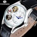 FORSINING 2017 Beliebte Marke Frau Uhren Armbanduhren Skeleton Dials Weiß Schöne Strass Leder Band