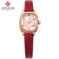 JULIUS Brand Logo Top Luxury Women Watch Crystal Square dial Leather Strap Fashion Watches Rose Gold Relogio Feminino JA 885