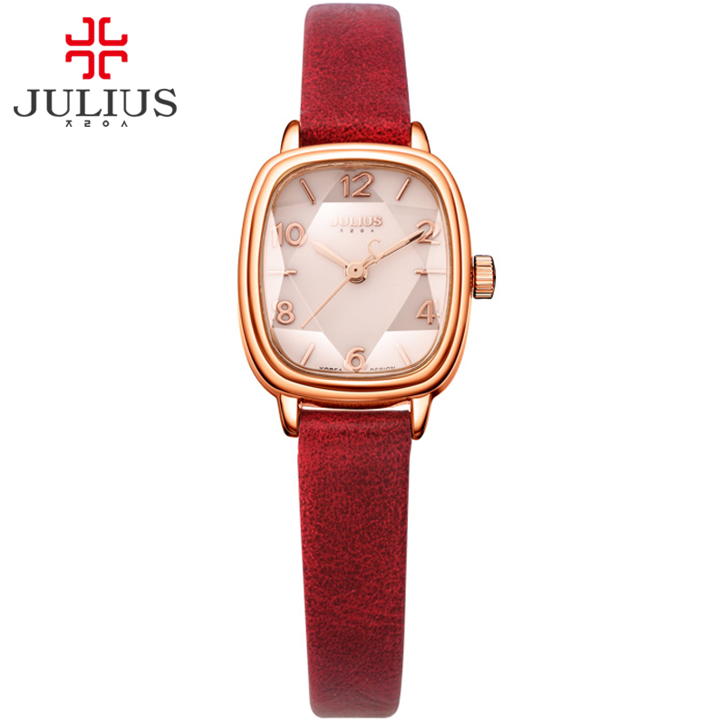 JULIUS Brand Logo Top Luxury Women Watch Crystal Square dial Leather Strap Fashion Watches Rose Gold Relogio Feminino JA-885 2016 top julius brand luxury crystal watches leather strap rhinestone fashion qaurtz wrist watch montre femme relogio feminino