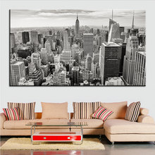 Large size Printing Oil Painting city skyline buildings Wall painting POP Art Wall Art Picture For Living Room painting No Frame(China)