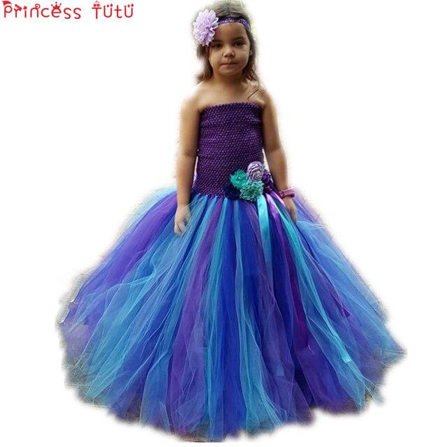 8c6589ce029b7 TUTU DELLA PRINCIPESSA Sirena Ariel Costume di Halloween Vestiti Delle  Ragazze di Fiore Bambini Vestito Da