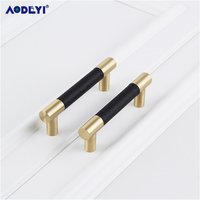 Leather Furniture Handles Drawer Cabinet Knobs Kitchen Door Handle Cupboard Wardrobe Pull Handles Furniture Fittings 3 Colors