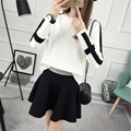 2017 New Arrival Women's Spring Clothes Knitting Patchwork Pullover Top And A-Line Mini Skirt Set Female Casual Suit 2 Colors In