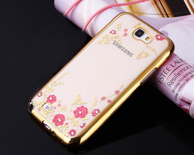 05 Protect Soft Rose Gold TPU Flower Cover Sparkly Gliter case  For Samsung Galaxy Note II 2 GT-N7100 N7100