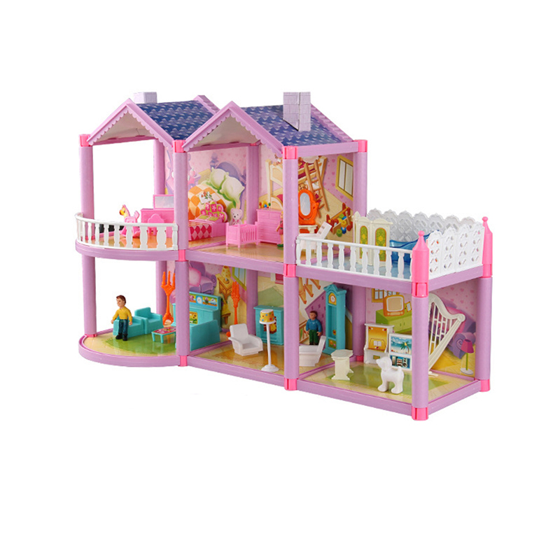 3D Family Doll House DIY Assemble Villa With Miniature Furniture Dog Doll Accessories Dollhouse Toy Girl
