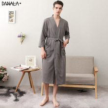 DANALA Autumn Warm Cotton Sleepwear Men Robe Kimono Long Sleeve Casual Bathrobe Night Wear