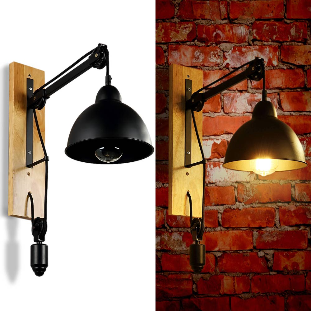 Personality Lifting Pulley Wall Lamp Iron Retractable Pulley Wall Sconce Lamp Abajur Cafe Club Bar Deco Lamp Home Light E27 Fit m75 750kgs pulley 304 stainless steel roller crown block lifting pulley factory direct sales all kinds of driving pulley