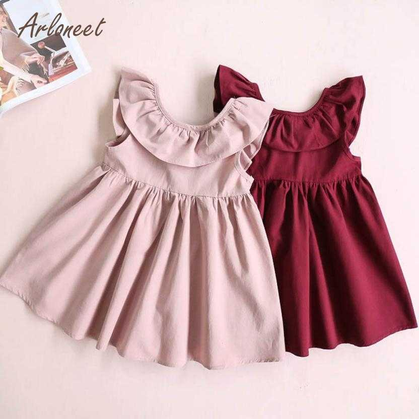 385b95657 ARLONEET Baby Girls Dresses Toddler Infant Kids Baby Girl Ruffled Dress  Clothes Backless Solid Casual Dress
