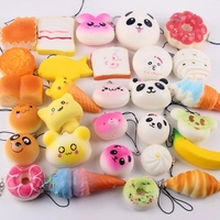 15Pcs Set Small Cute Bread Cell Phone Decoration Random Squishy Soft Panda Bread Cake Buns Phone
