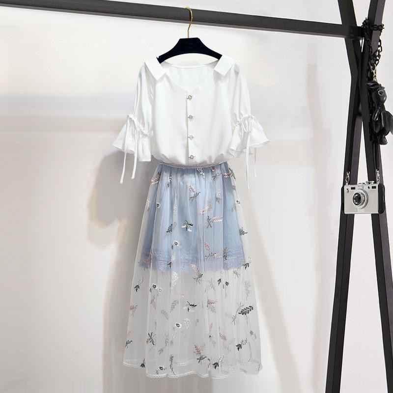 2019 Phụ Nữ Mùa Hè Mới V Cổ Bướm Tay Áo Rắn Áo Sơ Mi + Thêu Lưới Chắp Vá Lưới Váy Đặt Phụ Nữ Ngọt Ngào Giản Dị phù hợp với Z246