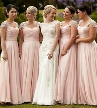 Pink 2017 Cheap Bridesmaid Dresses Under 50 A-line Sweetheart Cap Sleeves Chiffon Lace Long Wedding Party Dresses