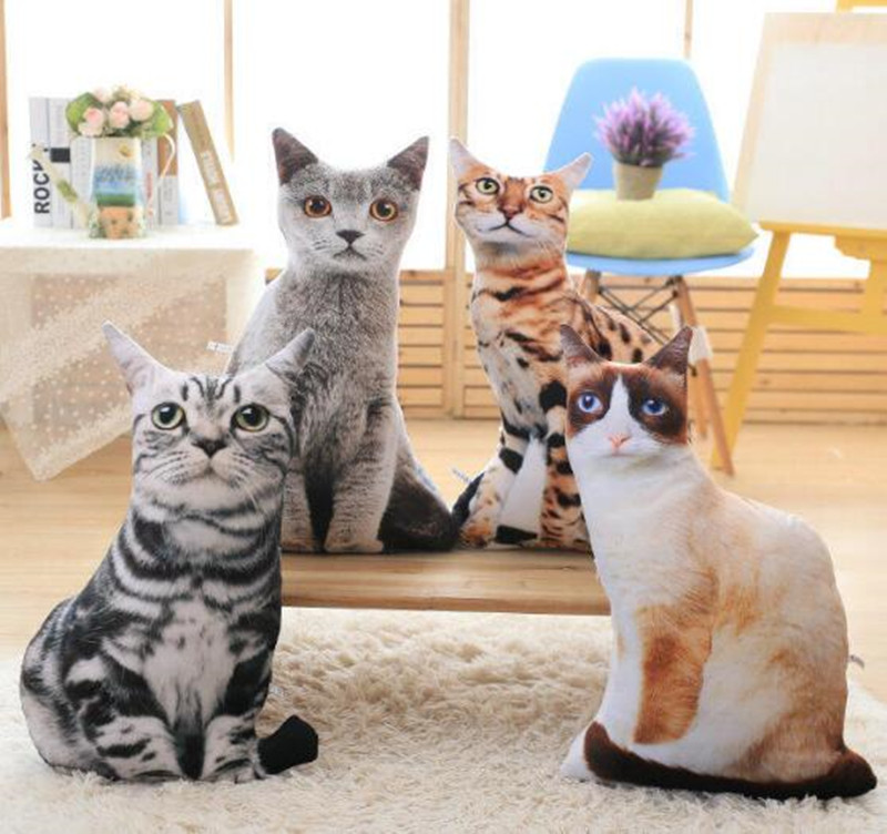 CXZYKING Creative Simulation Cat Plush Toys 3D Pillow Soft Plush Toy Comfort Cat Doll Washable Star Funny 3D Cushion Dolls 1pc 28cm cartoon simulation 3d cat