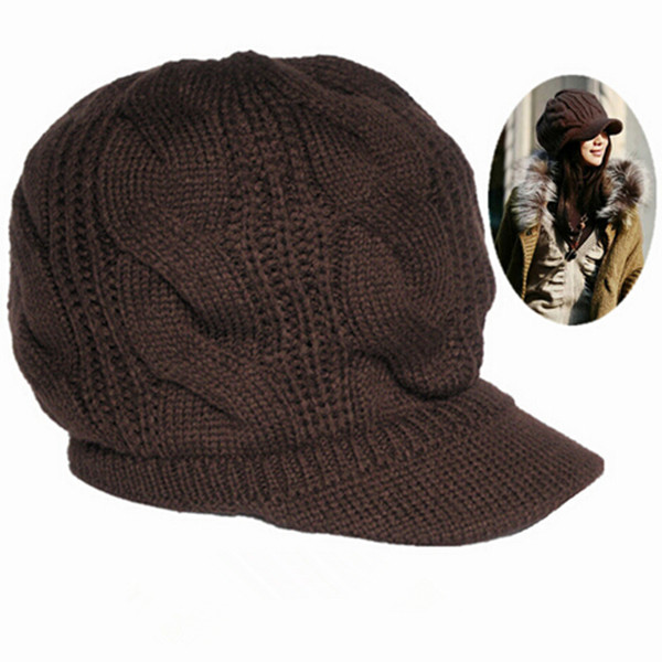 Warm Hot Sale New 2016 Peaked Cap Women Hat Winter Caps Knitted Hats For Woman Lady's Headwear