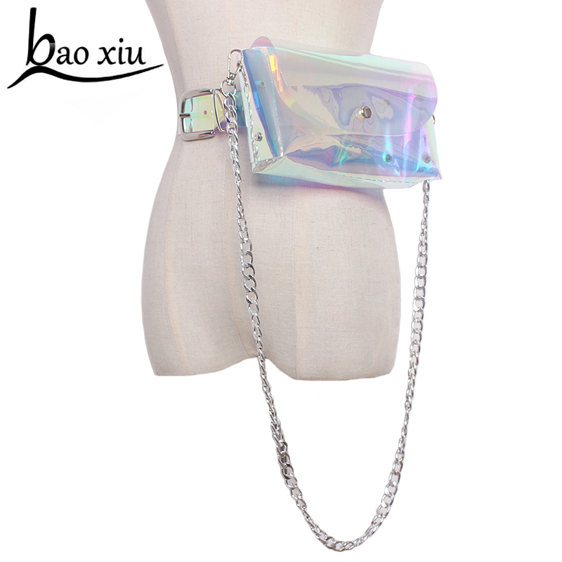 Fashion Hot Womens Transparent Waist Belt Bag metal silver chain Leisure dual purpose Sweet PVC Holographic Pochete Laser new holographic belt purse