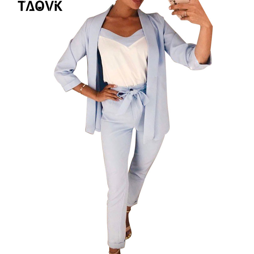 TAOVK Women 3 Pieces Set OL Pant Suit Bracelet Sleeve Belted Blazer Jacket And Sleeveless Vest Tops And Long Trouser Suits